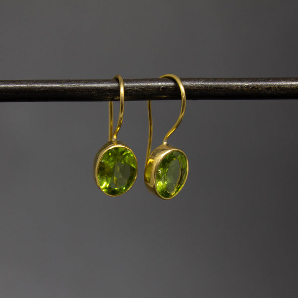Faceted Peridot and Gold Vermeil Drop Earrings