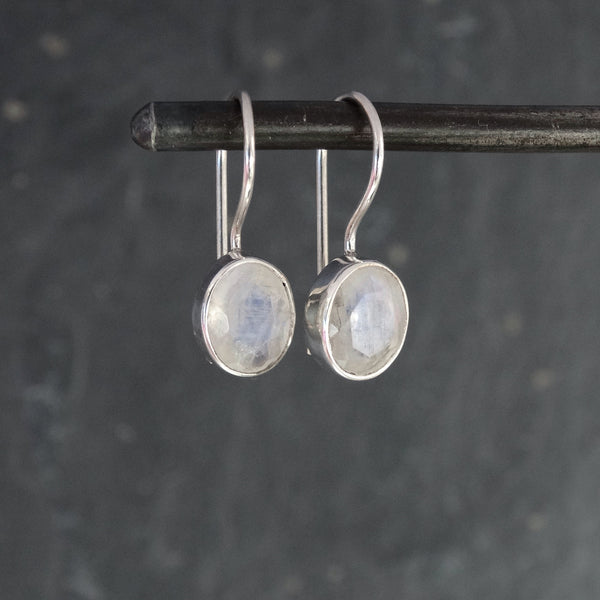 Faceted Rainbow Moonstone and Sterling Silver Drop Earrings