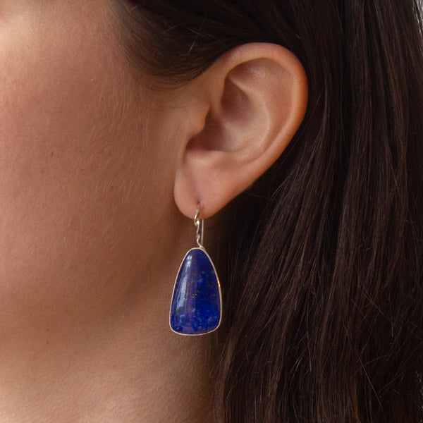 Lapis Lazuli and Silver Drop Earrings
