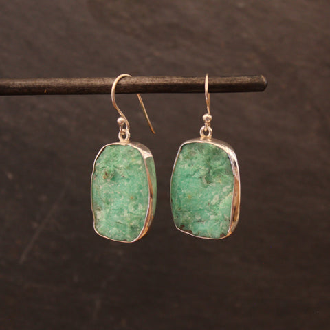Raw Chrysoprase and Silver Earrings