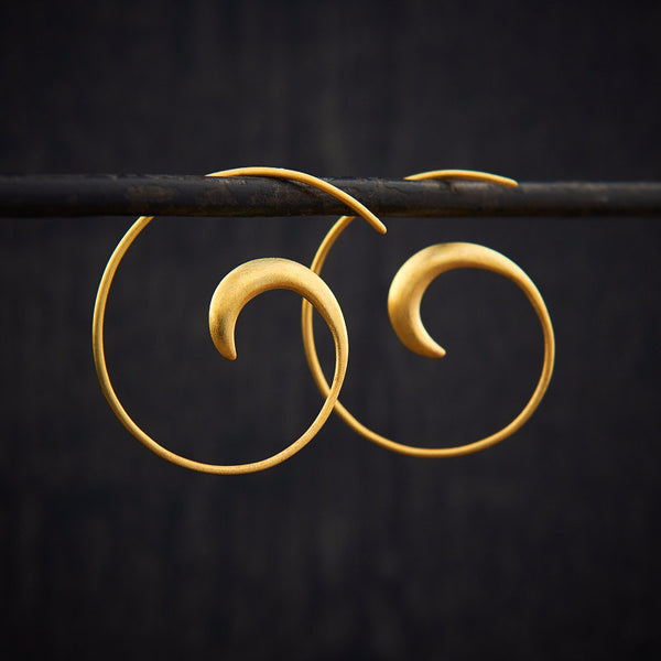 Swirl Hoop Earrings in Matt Gold Vermeil - Beyond Biasa