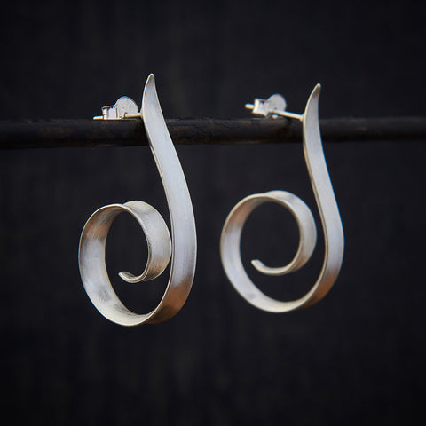 Brushed Sterling Silver Swirl Stud Hoop Earrings - Beyond Biasa