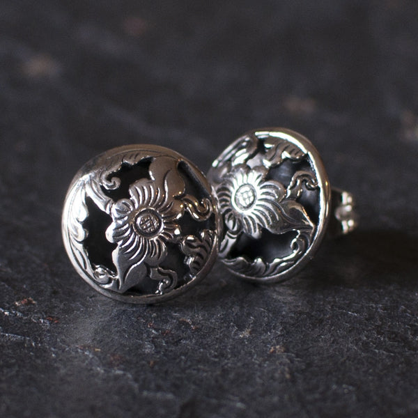 Sterling Silver Flower Cut Out Stud Earrings - Beyond Biasa