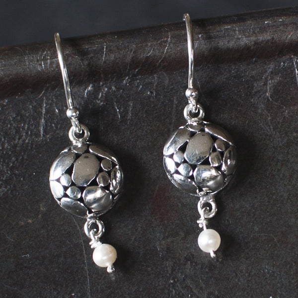 Sterling Silver Organic Circle and Freshwater Pearl Earrings - Beyond Biasa