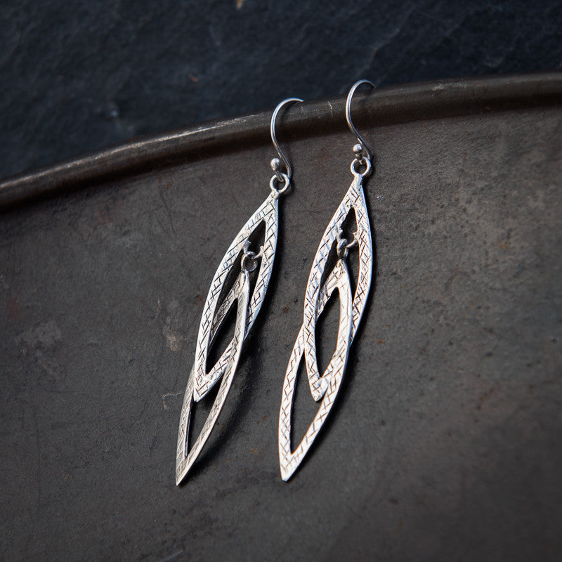 Sterling Silver Interlocking Scratched Drop Earrings - Beyond Biasa