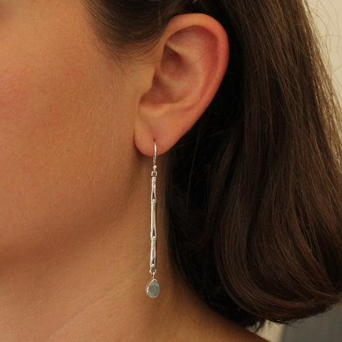 Chalcedony and Sterling Silver Bamboo Dangle Earrings
