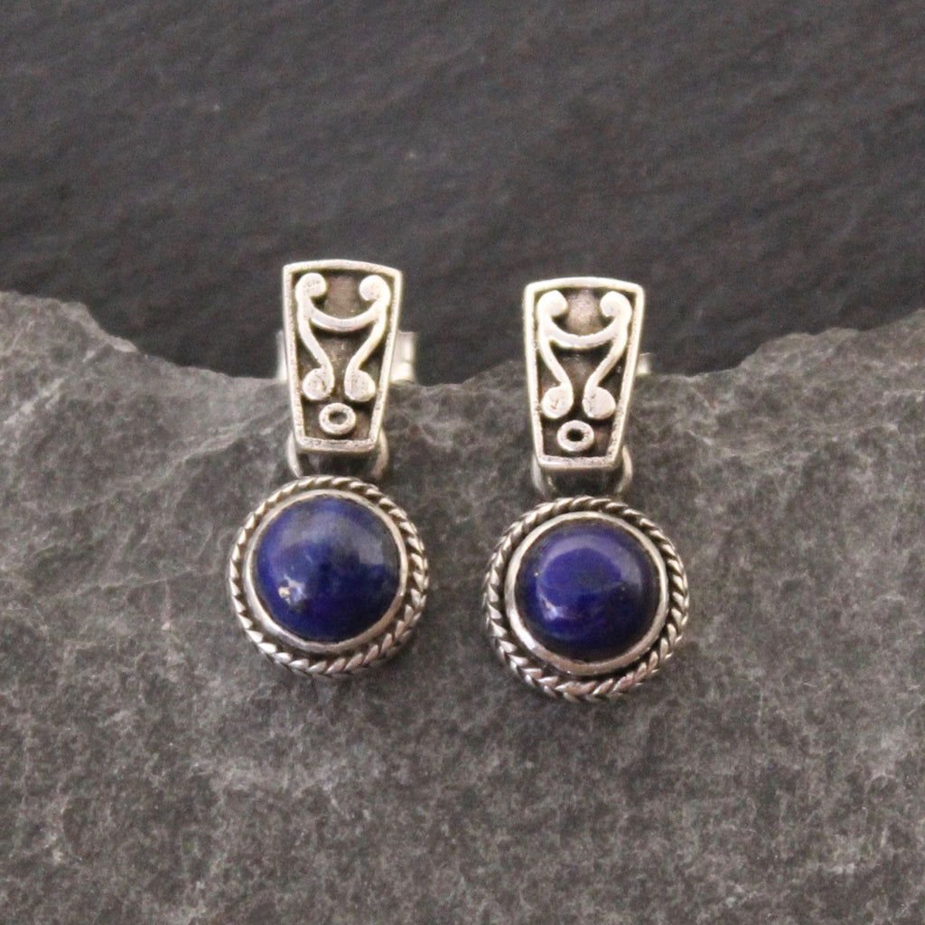 Lapis Lazuli and Sterling Silver Detail Earrings - Beyond Biasa