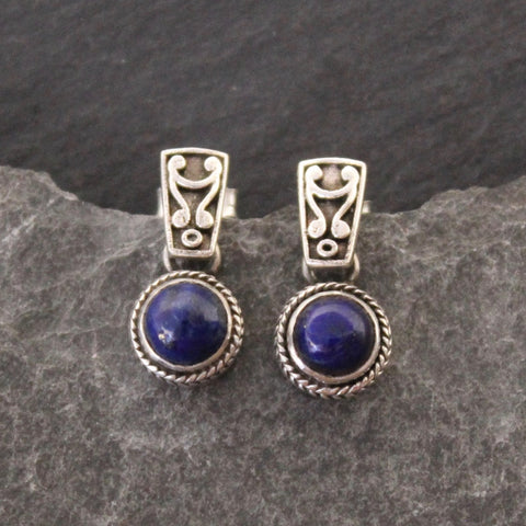 Lapis Lazuli and Sterling Silver Detail Earrings