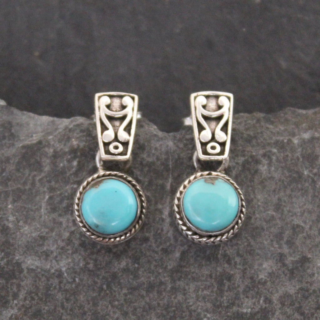 Turquoise and Sterling Silver Detail Earrings - Beyond Biasa