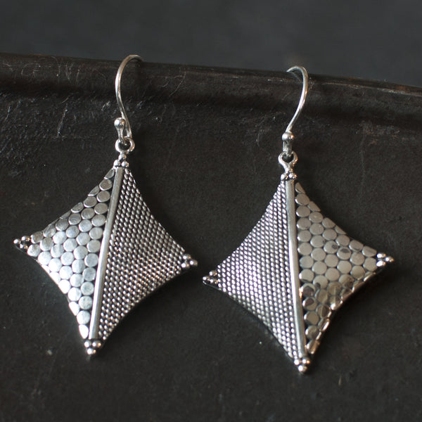 Circle and Wirework Sterling Silver Diamond Earrings - Beyond Biasa