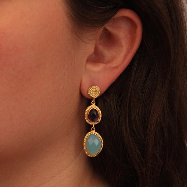 Amethyst, Aqua Chalcedony and Gold Vermeil Wirework Drop Earrings
