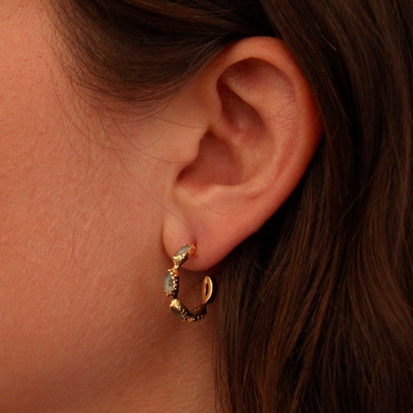 Apatite and Gold Vermeil Hoop Earrings