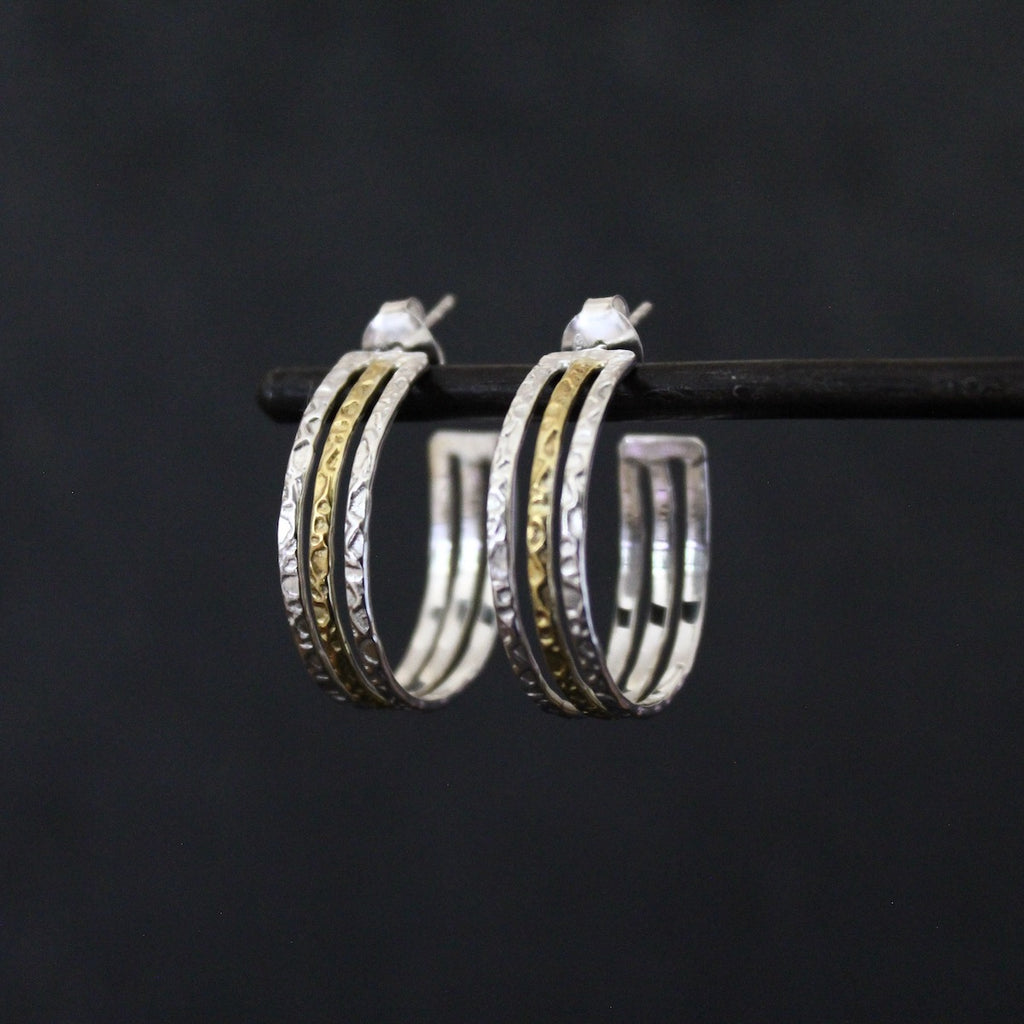 Silver and Gold Hammered Hoop Earrings