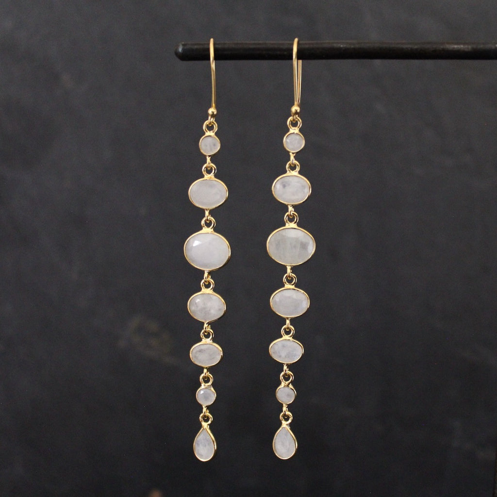 Rainbow Moonstone and Gold Vermeil Long Drop Earrings