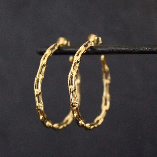 Gold Vermeil Chain Link Hoop Earrings