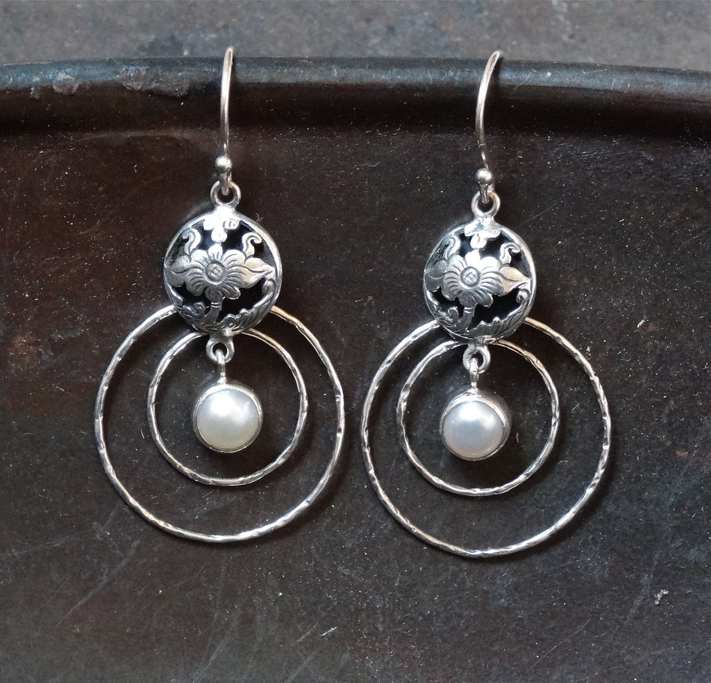 Sterling Silver Flower Cut Out and Freshwater Pearl Earrings - Beyond Biasa