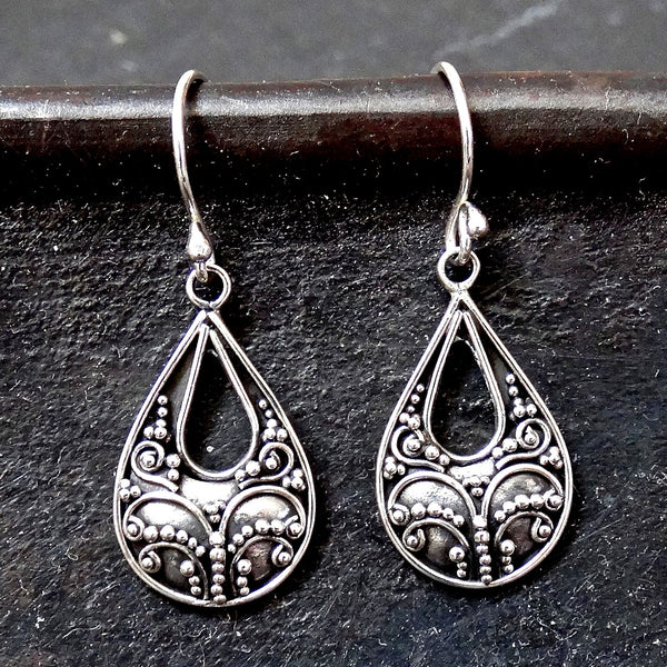 Teardrop Filigree Sterling Silver Earrings - Beyond Biasa