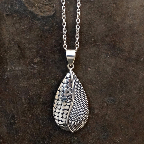 Sterling Silver Circle and Swirl Teardrop Pendant - Beyond Biasa