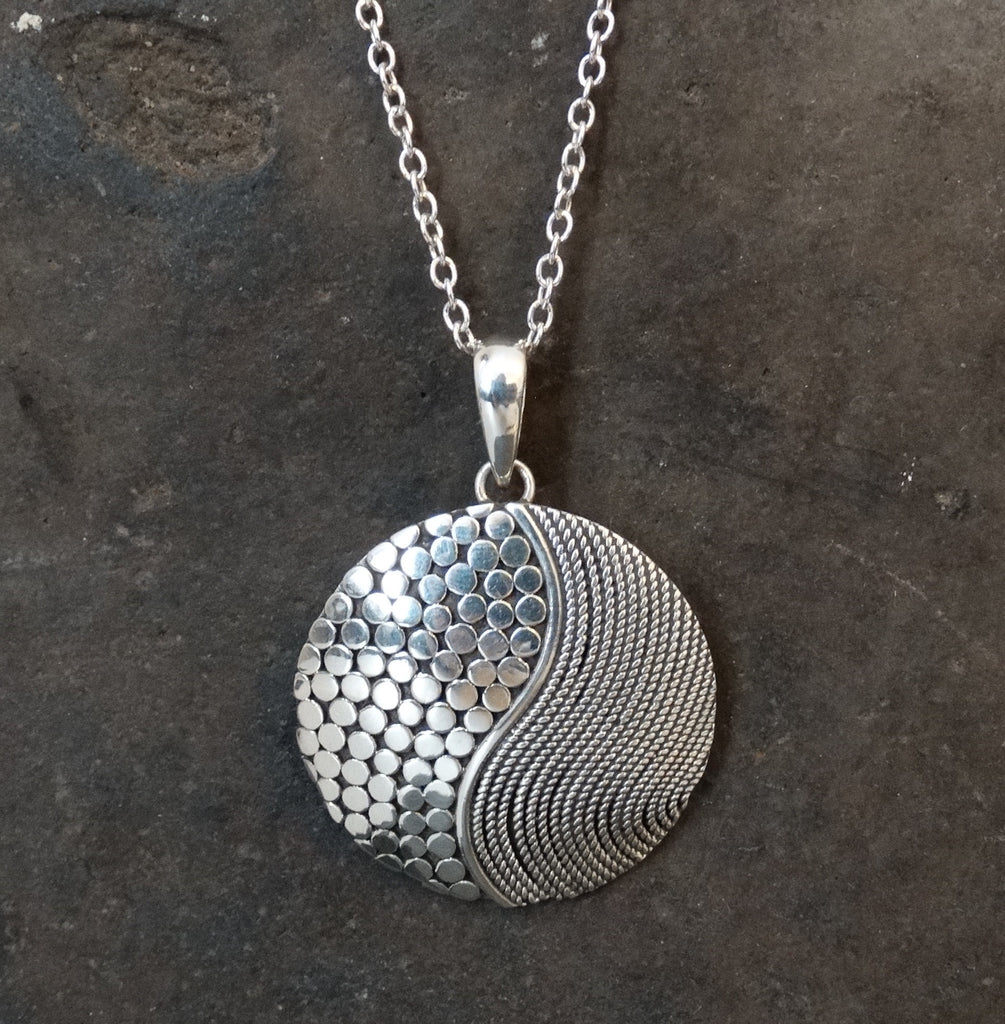 Sterling Silver Circle and Swirl Pendant and Chain - Beyond Biasa