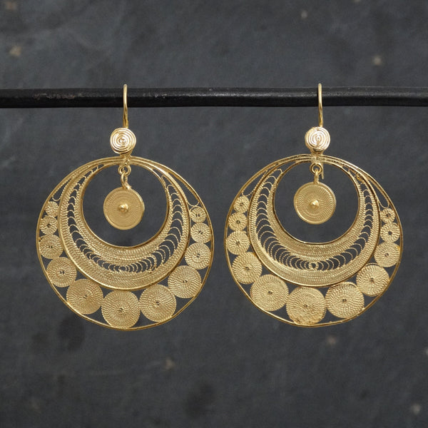 Gold Vermeil Circular Filigree Earrings - Beyond Biasa