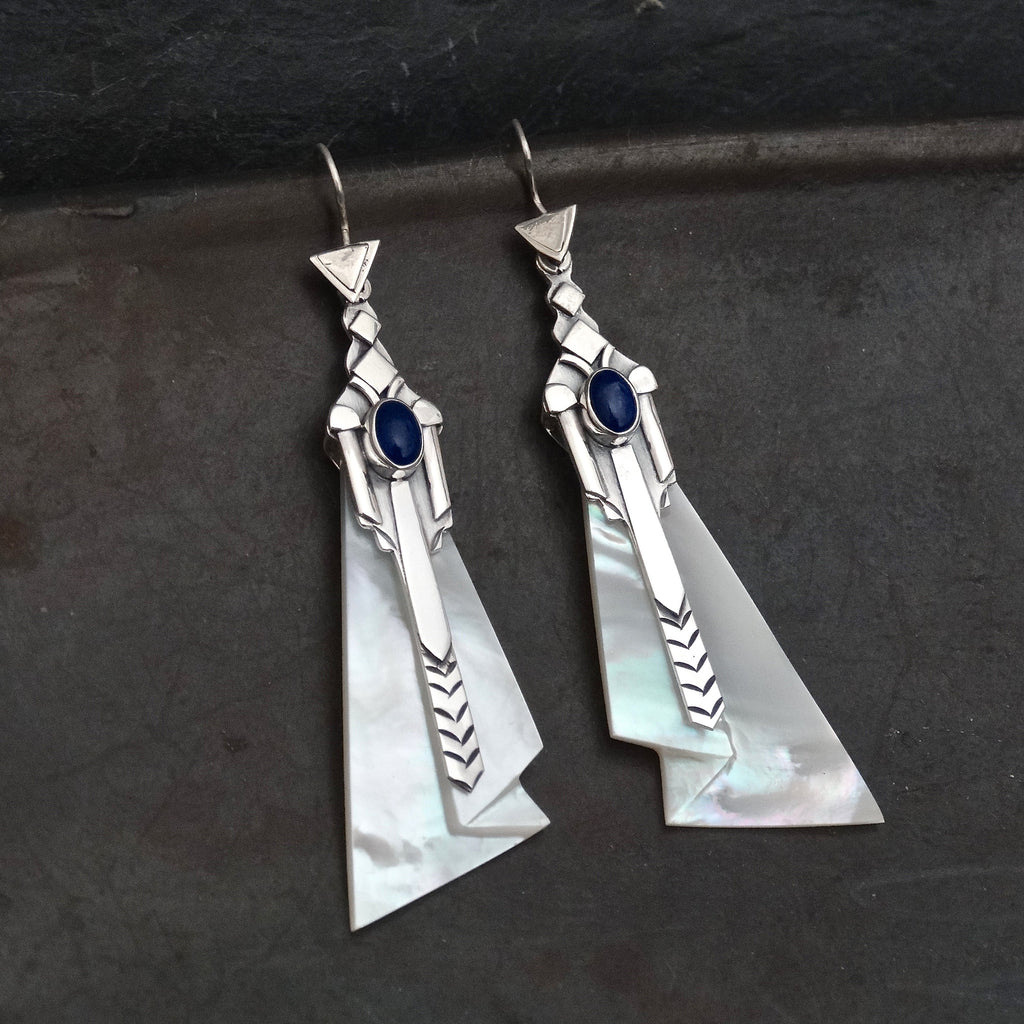 Lapis Lazuli and Mother-of-Pearl Art Deco Earrings - Beyond Biasa