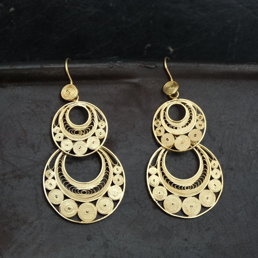 Gold Vermeil Filigree Double Circle Earrings - Beyond Biasa