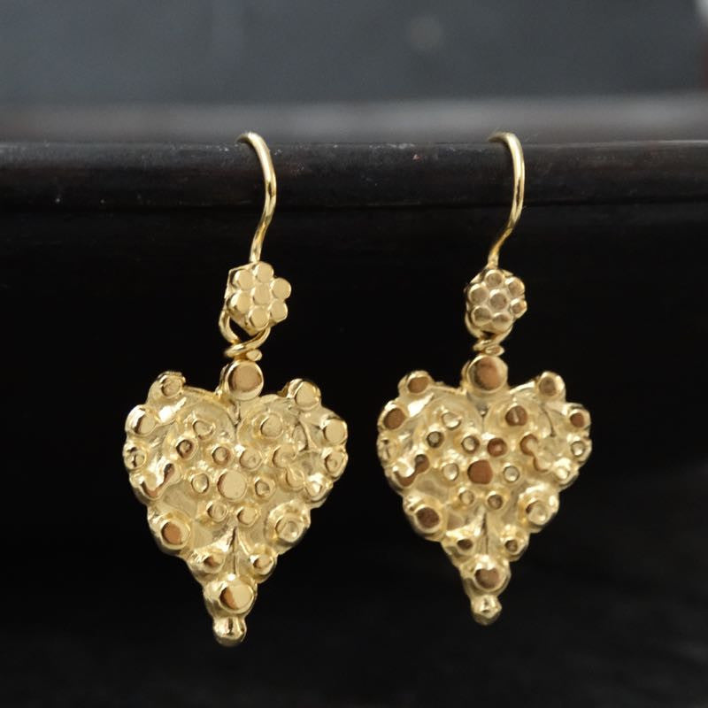 Gold Vermeil Heart Earrings - Beyond Biasa