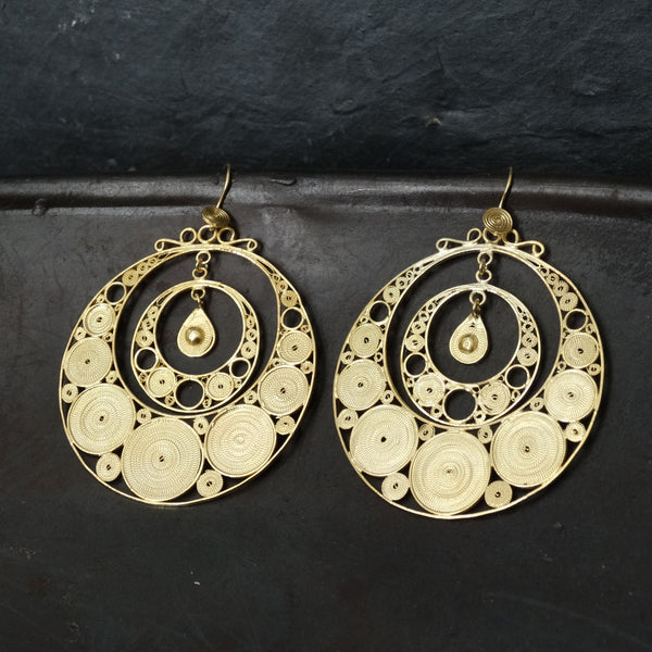 Gold Vermeil Super Large Filigree Circular Earrings - Beyond Biasa