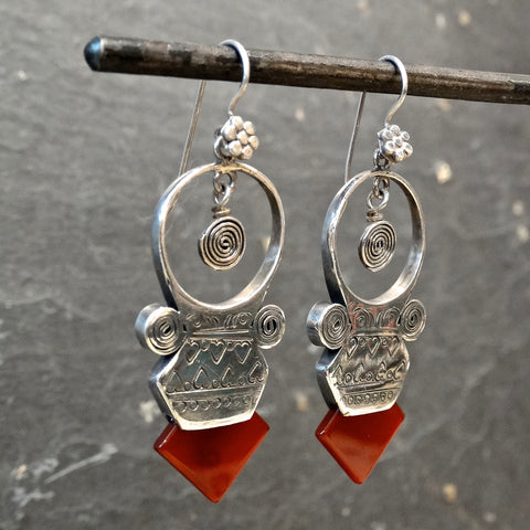 Carnelian and Sterling Silver 'Tuareg' Earrings - Beyond Biasa