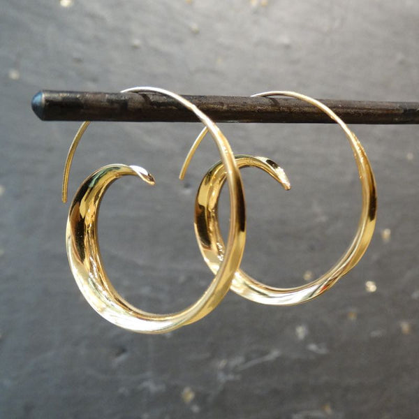 Gold Vermeil Swirl Hoop Earrings - Beyond Biasa