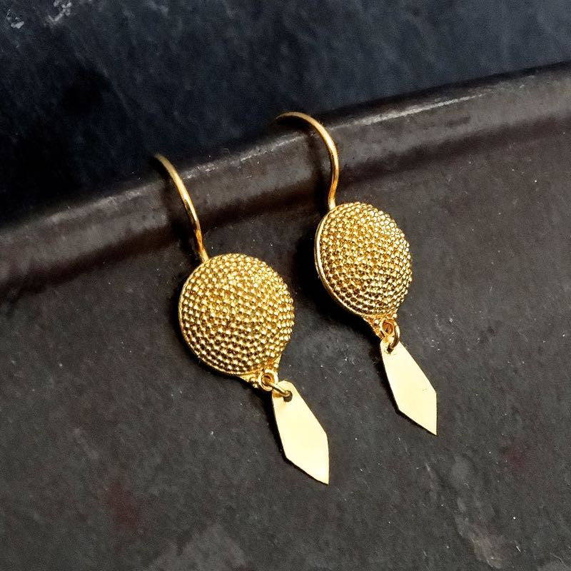 Gold Vermeil Granulation Earrings With Arrow Drop - Beyond Biasa
