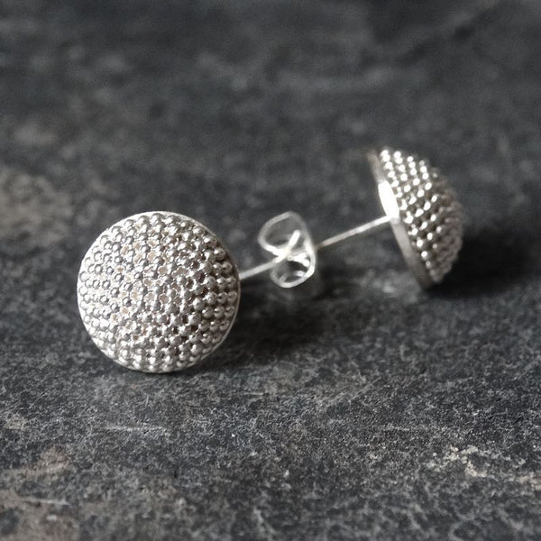 Sterling Silver Granulation Circular Stud Earrings - Beyond Biasa