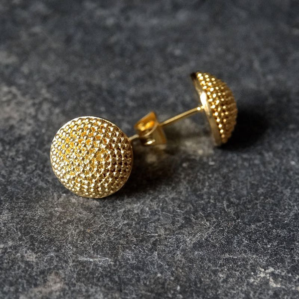 Gold Vermeil Granulation Circular Stud Earrings - Beyond Biasa