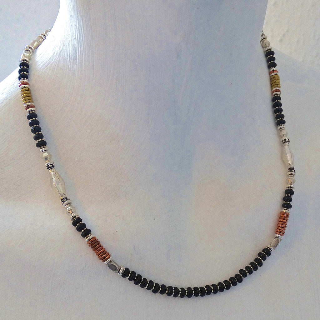 Black Onyx Necklace with Sterling Silver Brass and Copper - Beyond Biasa