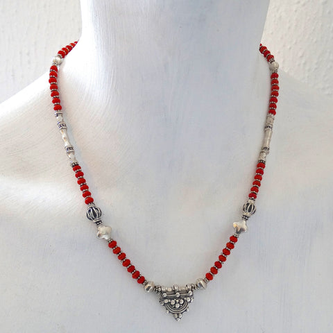 Coral and Sterling Silver Telsen Necklace - Beyond Biasa