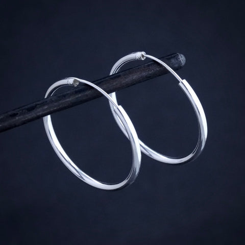 Sterling Silver Simple Hoop Earrings