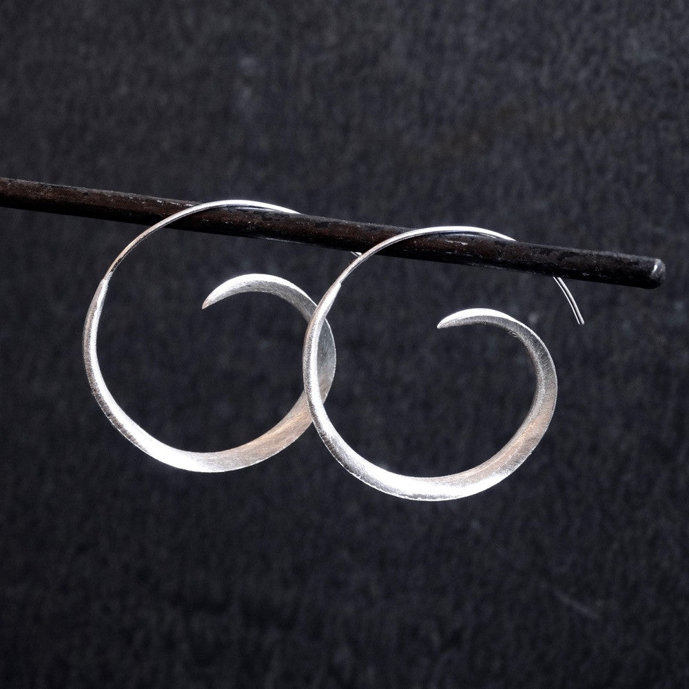 Sterling Silver Swirl Hoop Earrings - Beyond Biasa