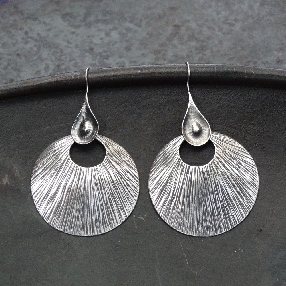 Sterling Silver 'Scratched' Circular Earrings - Beyond Biasa