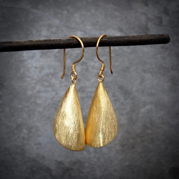 Brushed Sterling Silver or Gold Vermeil Flute Earrings - Beyond Biasa