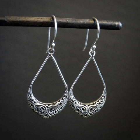 Sterling Silver Filigree Teardrop Earrings - Beyond Biasa