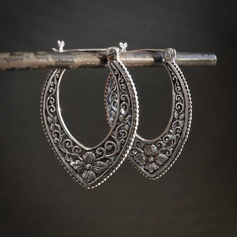 Flower Filigree Hoop Earrings in Sterling Silver - Beyond Biasa