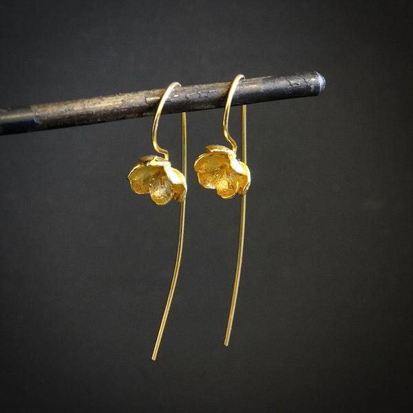 Long Flower Earrings in Gold Vermeil - Beyond Biasa
