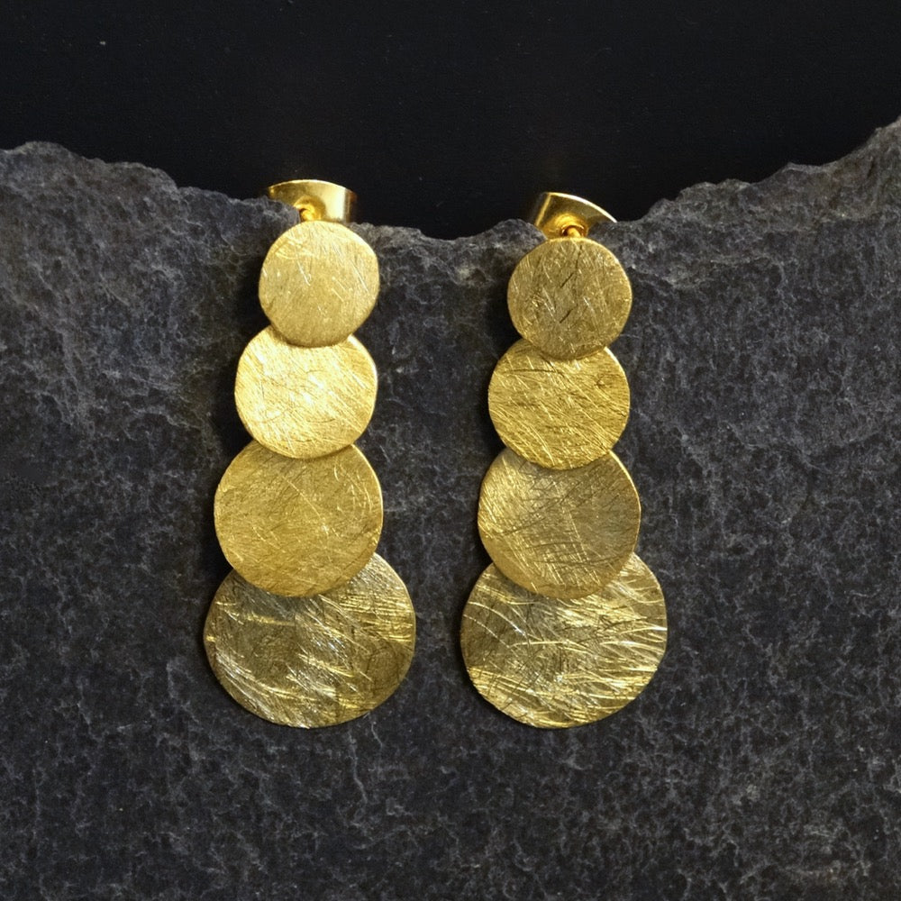 Brushed Gold Vermeil Circles Earrings - Beyond Biasa