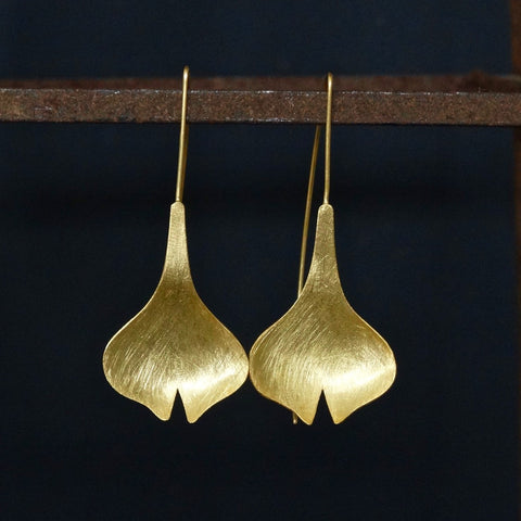 Brushed Gold Vermeil Tulip Flower Drop Earrings