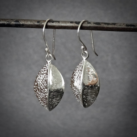 Textured Sterling Silver Drop Earrings