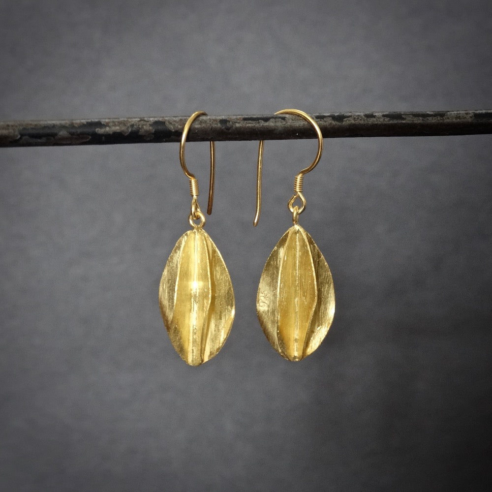 Brushed Gold Vermeil Twist Drop Earrings - Beyond Biasa