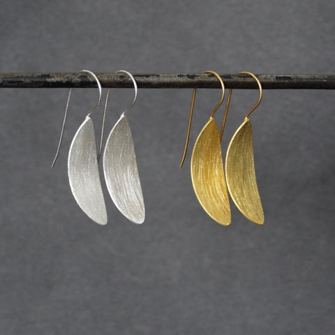 Brushed Silver or Brushed Gold Minimal Drop Earrings