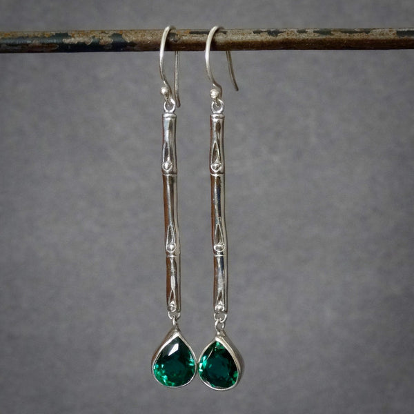 Sterling Silver and Green Quartz Bamboo Drop Earrings - Beyond Biasa
