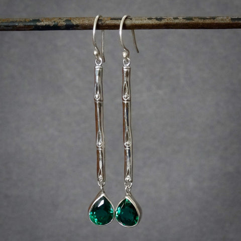 Sterling Silver and Green Quartz Bamboo Drop Earrings
