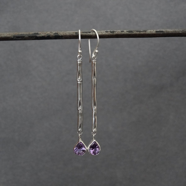 Sterling Silver Bamboo Drop Earrings with Amethyst - Beyond Biasa